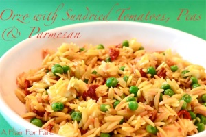 Orzo with sundried tomatoes and peas