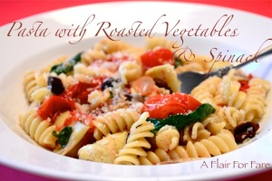 Pasta with roasted vegetables and spinach