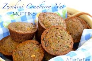 Zucchini Cranberry- Nut Muffins